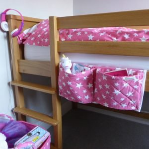 Pink and white star pattern bed pockest