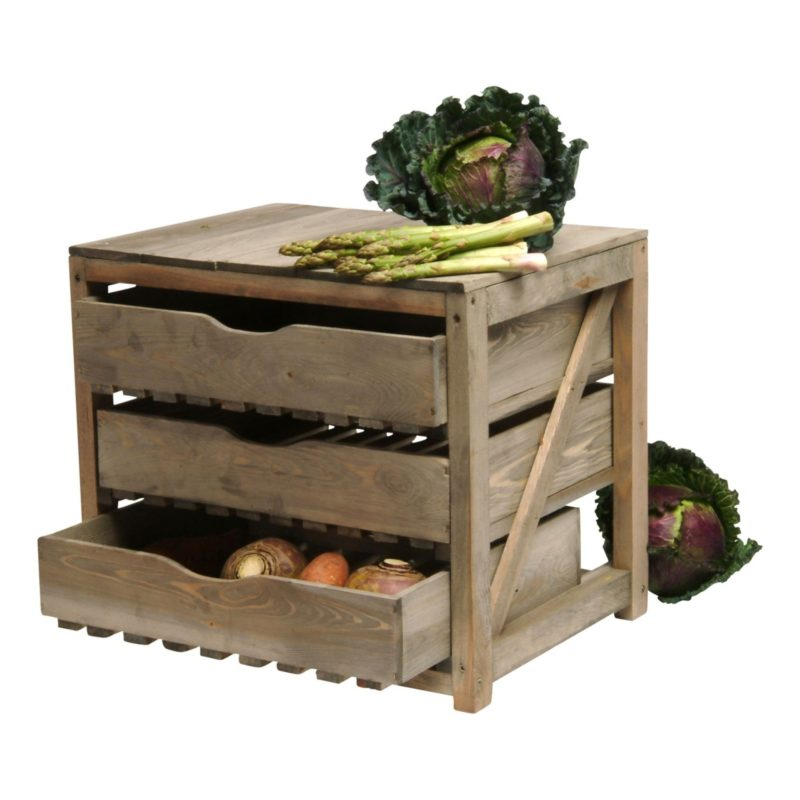 3-drawer wooden veg store
