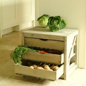 Wooden veg store with 3 drawers