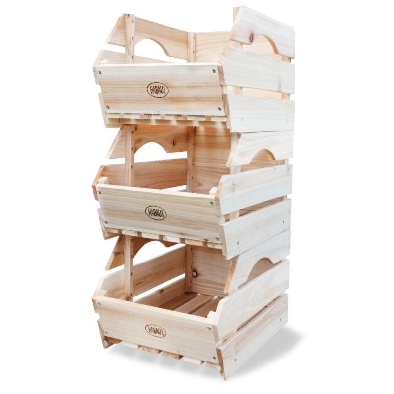 Stackable wooden fruit and veg crates