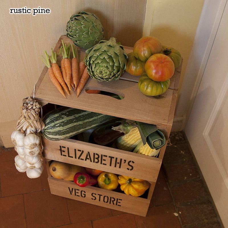 Personalised wooden veg rack