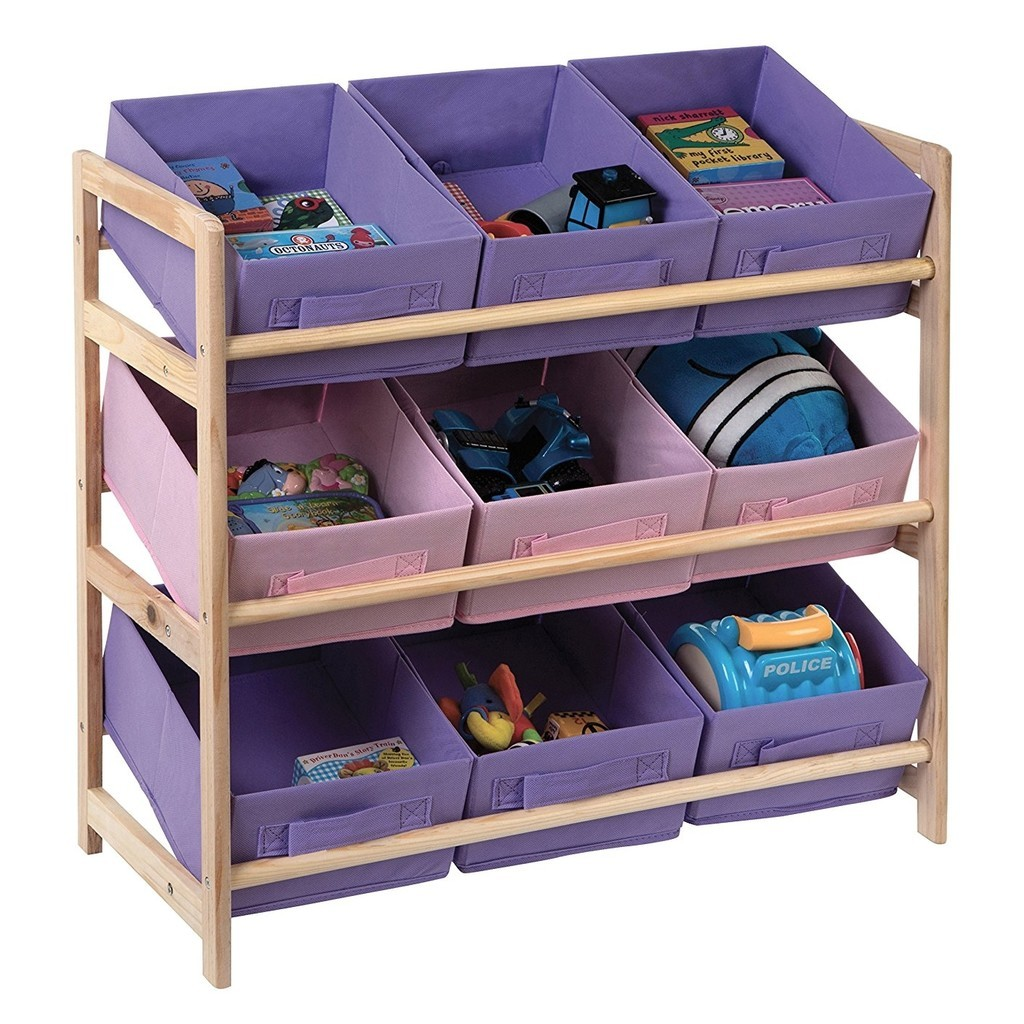 Wood frame storage unit with 9 pastel coloured bins
