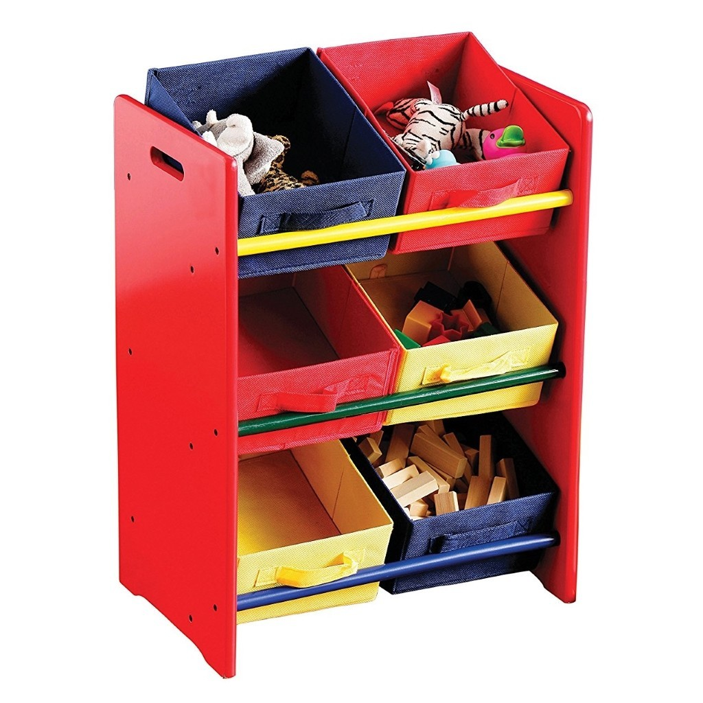 Plain red storage rack with 6 coloured canvas bins