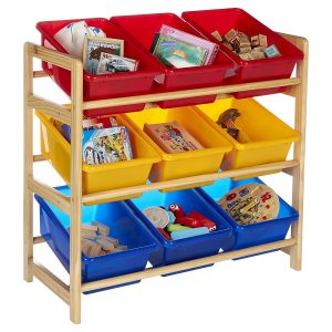 Pine storage unit with 9 plastic bins