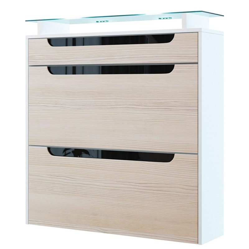 Gloss white shoe cabinet with light woodgrain effect doors