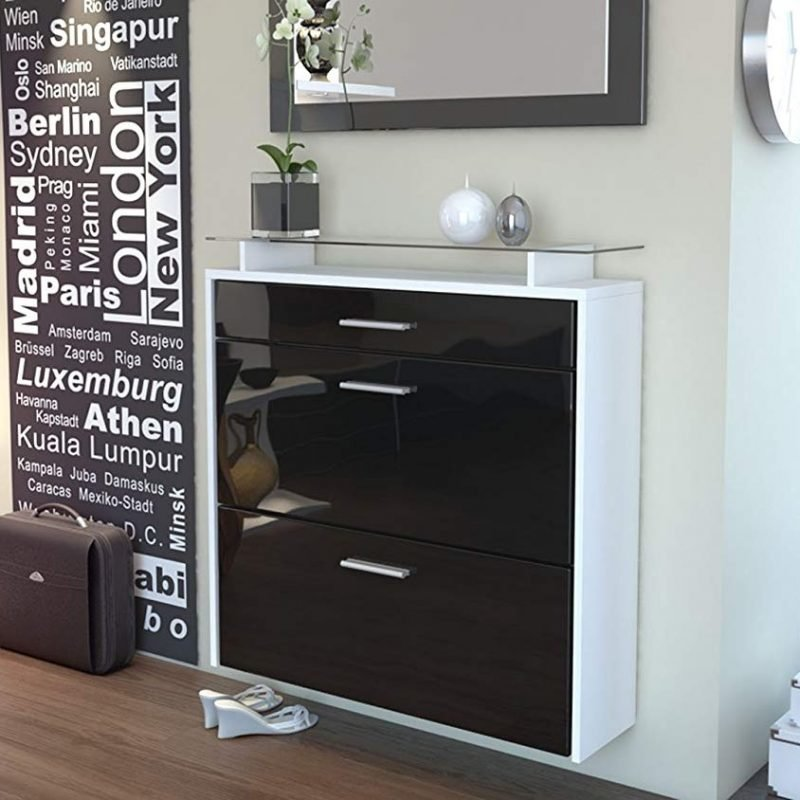 Black and white gloss shoe cabinet
