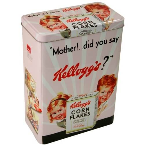 Corn Flakes cereal tin