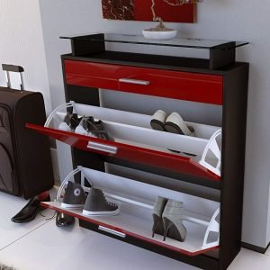 Red and black shoe cabinet