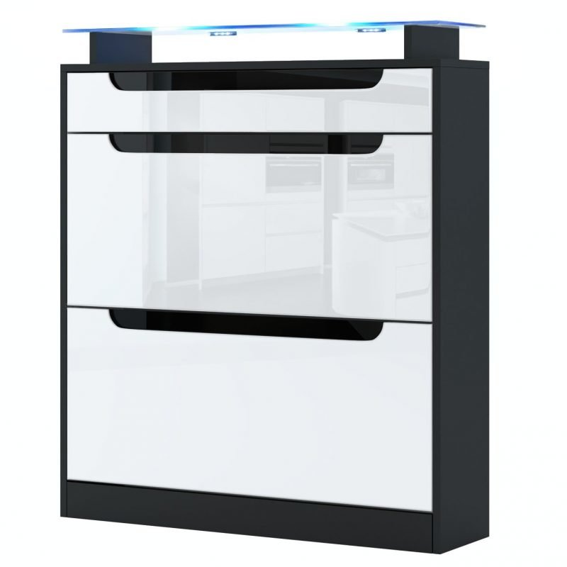White and black gloss shoe cabinet