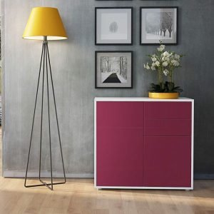 Hallway cupboard and drawers with Fuchsia High Gloss fronts