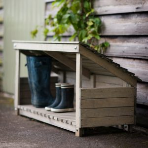 Wooden welly storage shed