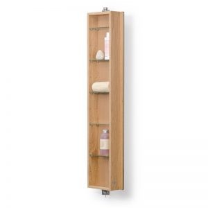 Revolving bathroom cabinet/mirror with 5 shelves in a light oak finish