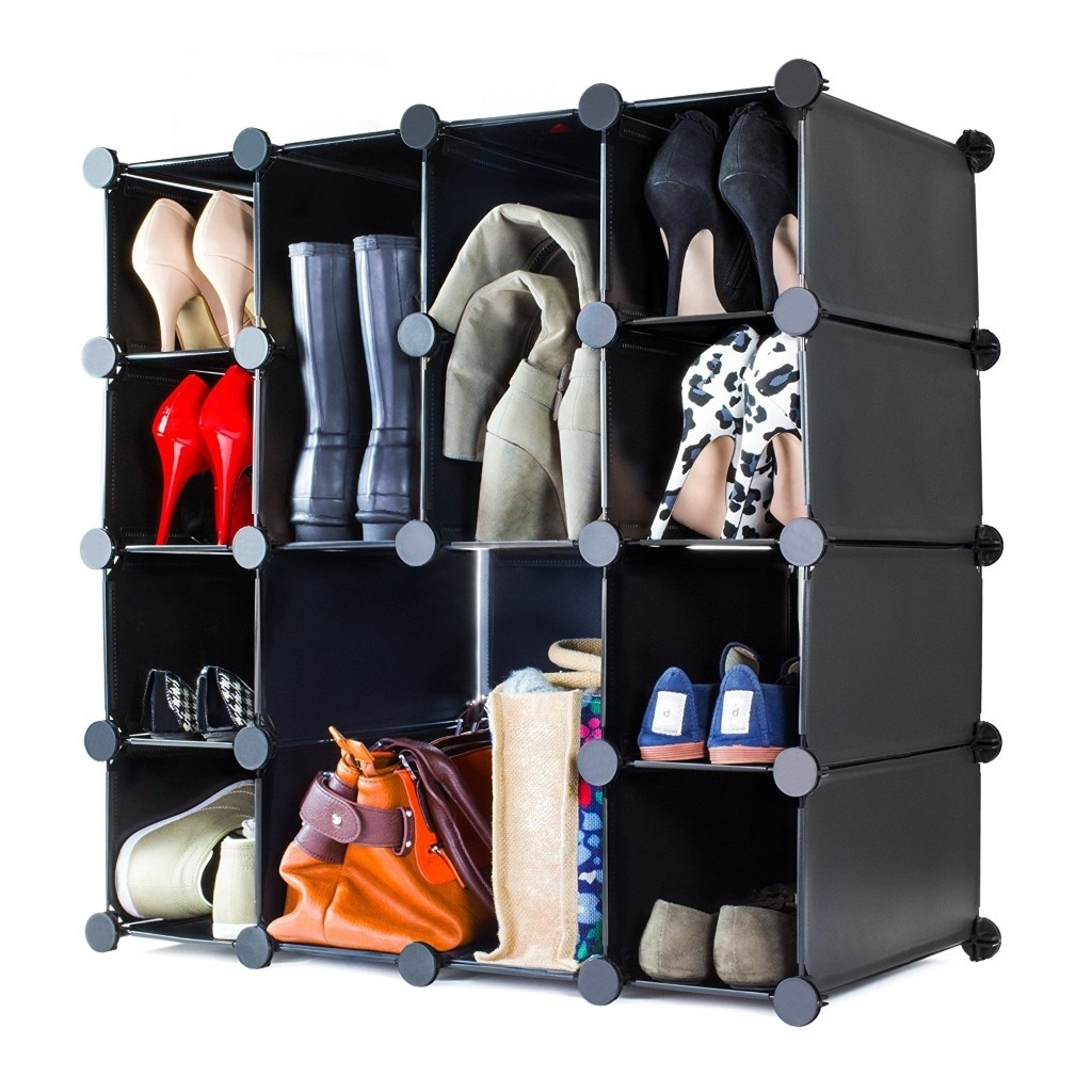 Interlocking shoe rack in black