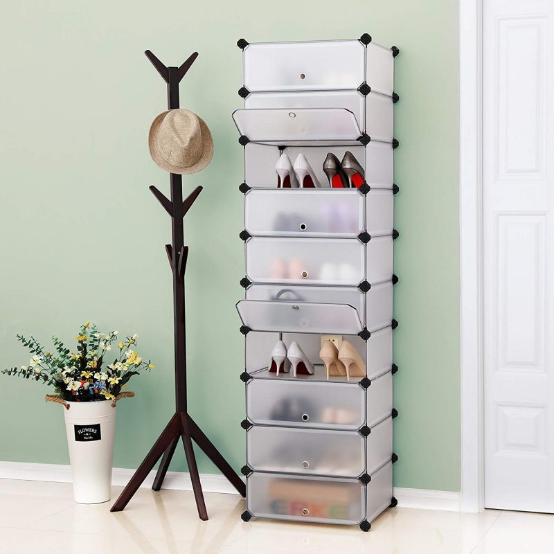 Tall 10-section shoe rack