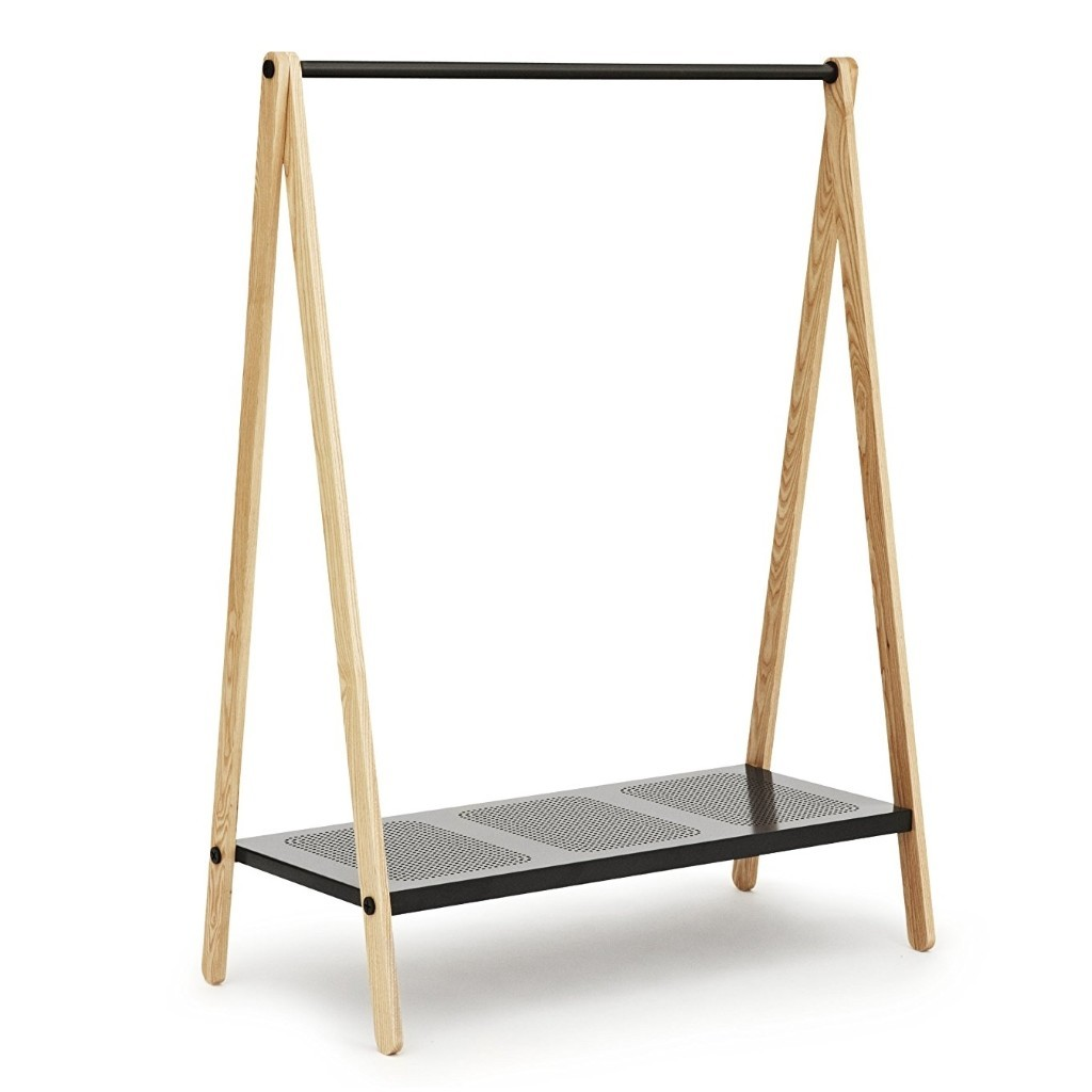 Clothes stand with black hanging rail and shelf