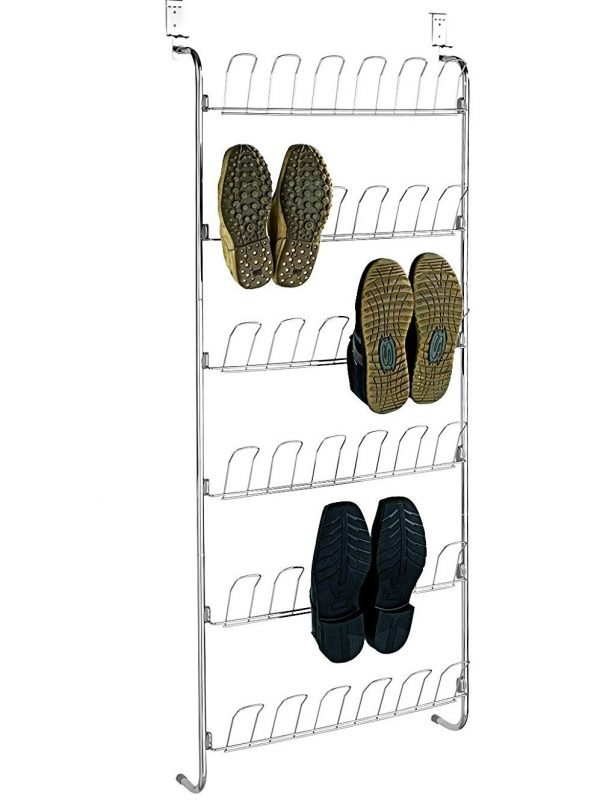 Metal over-door shoe rack