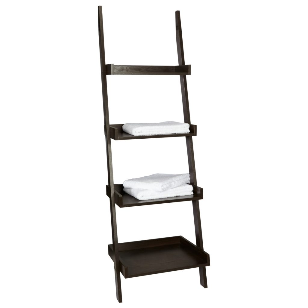 4 tier dark wood ladder shelf