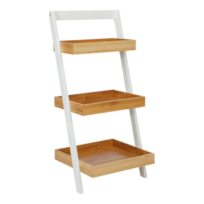 White painted frame ladder with 3 bamboo shelves