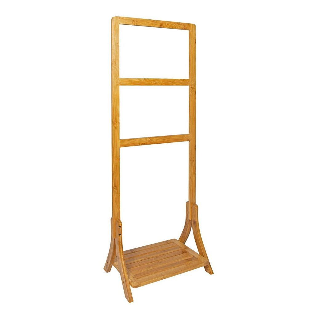 Bamboo towel rail with shelf