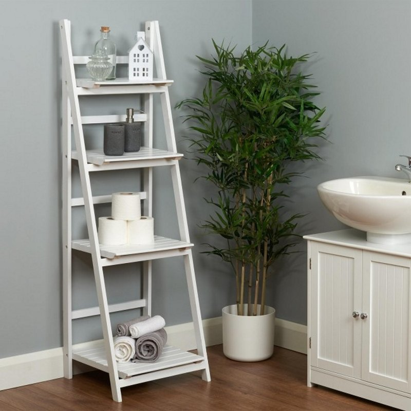 White 4-tier painted step ladder