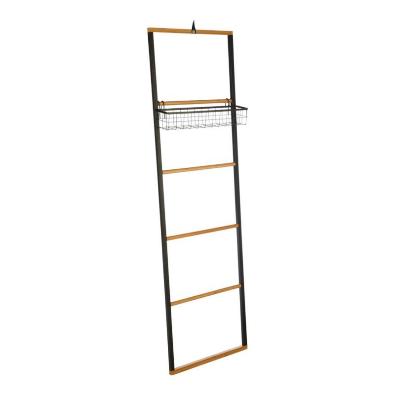 Metal frame towel ladder with bamboo rungs