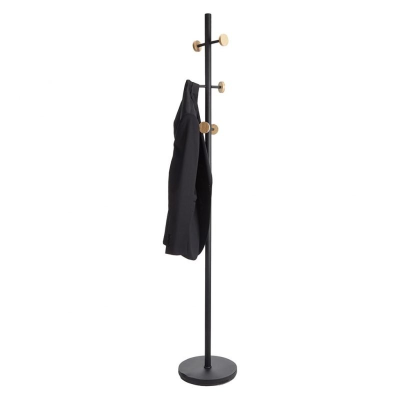 Black metal coat stand with round wooden hanger ends