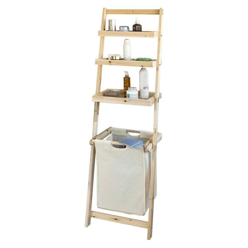 Leaning ladder with 3 shelves and laundry bin