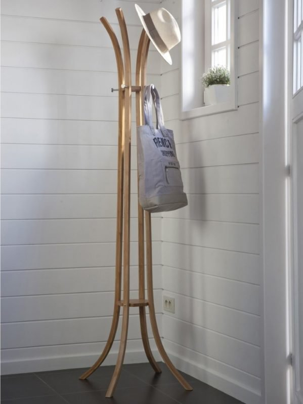 Bamboo coat stand with 4 arms and 4 metal hangers