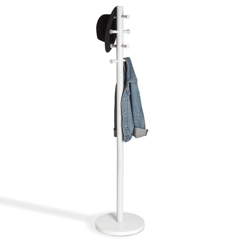 White coat stand with round base and round hanger ends