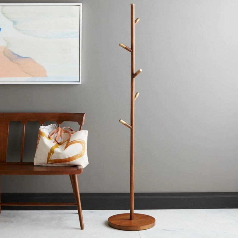 Acorn coloured coat stand with brass tips
