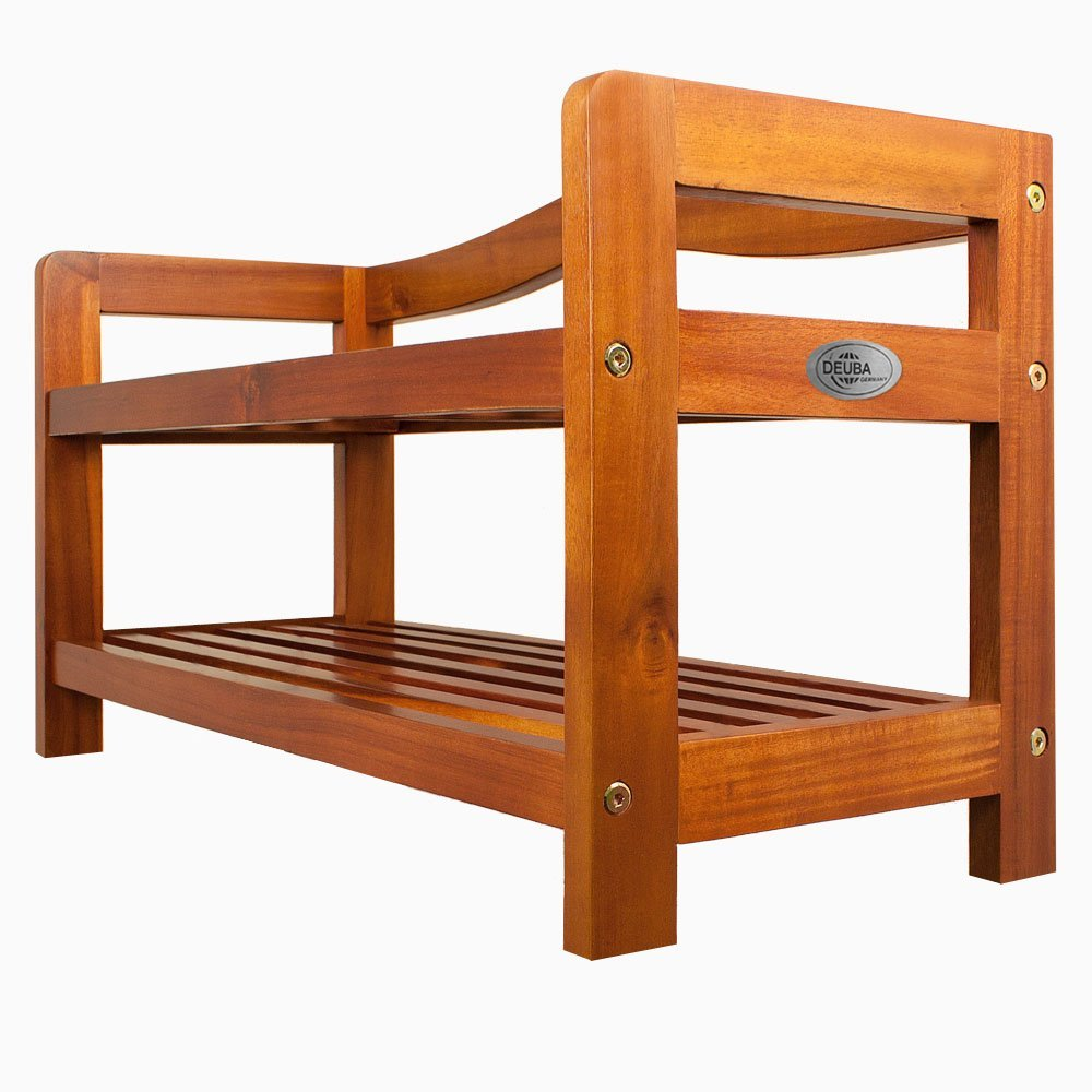 2 tier acacia wood shoe rack