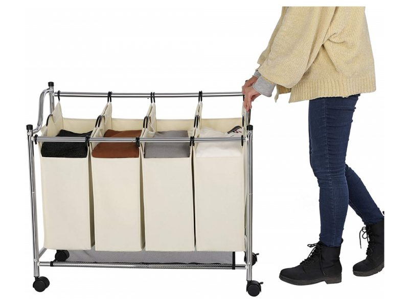 Laundry sorter with 4 bins