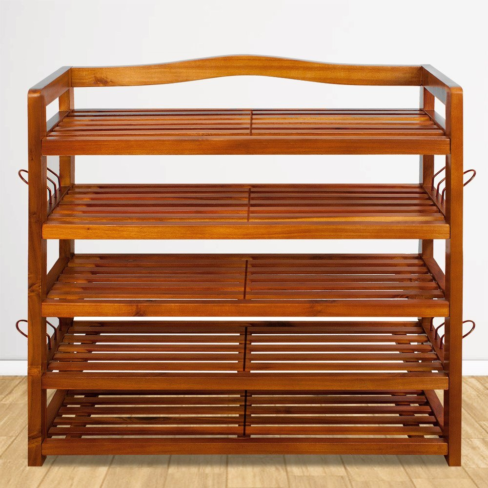 Sturdy acacia shoe rack with 5 shelves