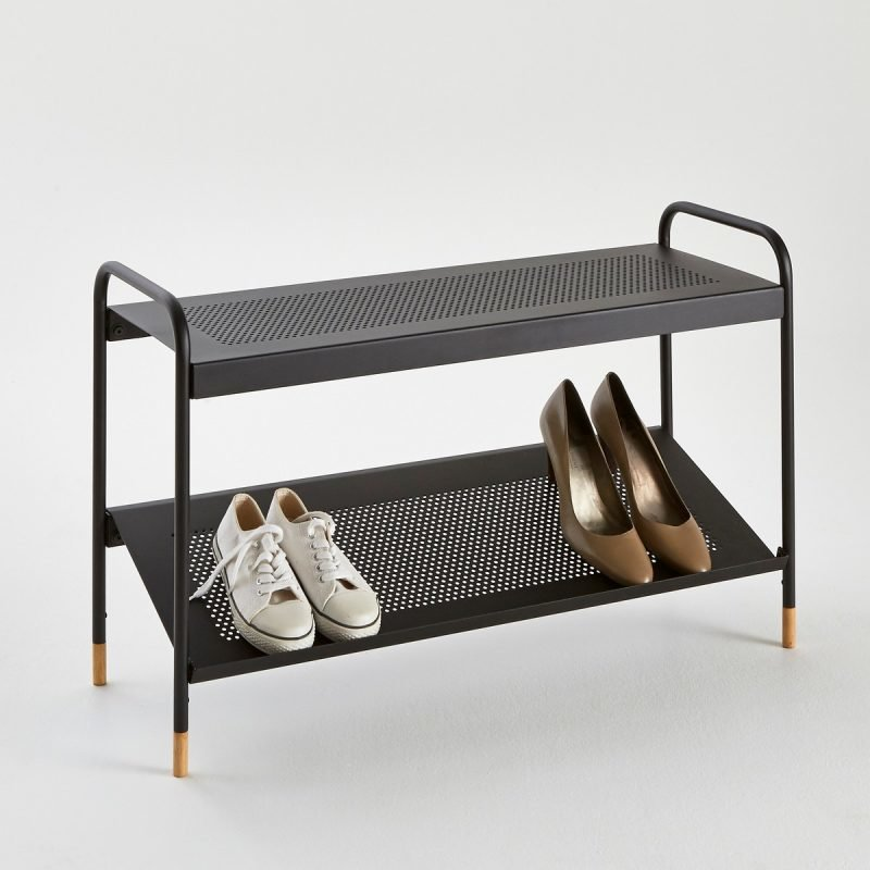 Black shoe rack with perforated metal shelves