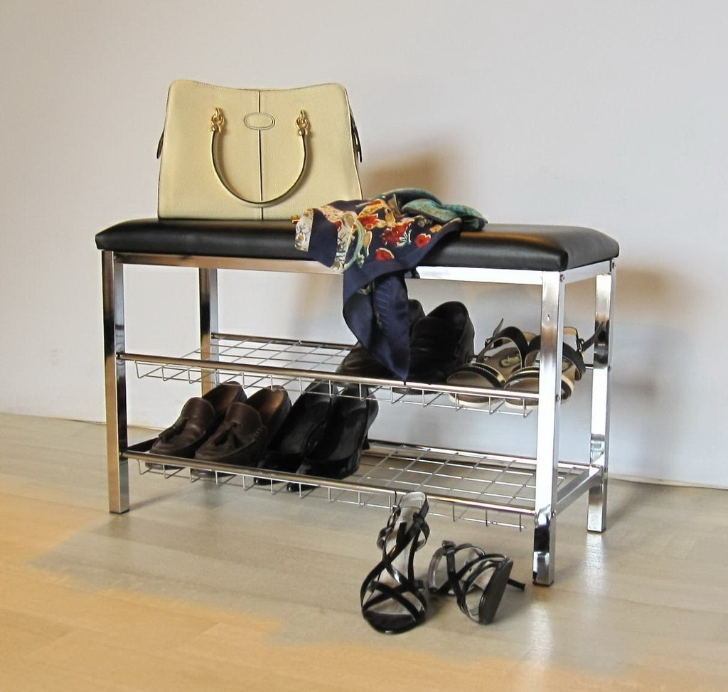 Metal shoe rack with black cushion seat