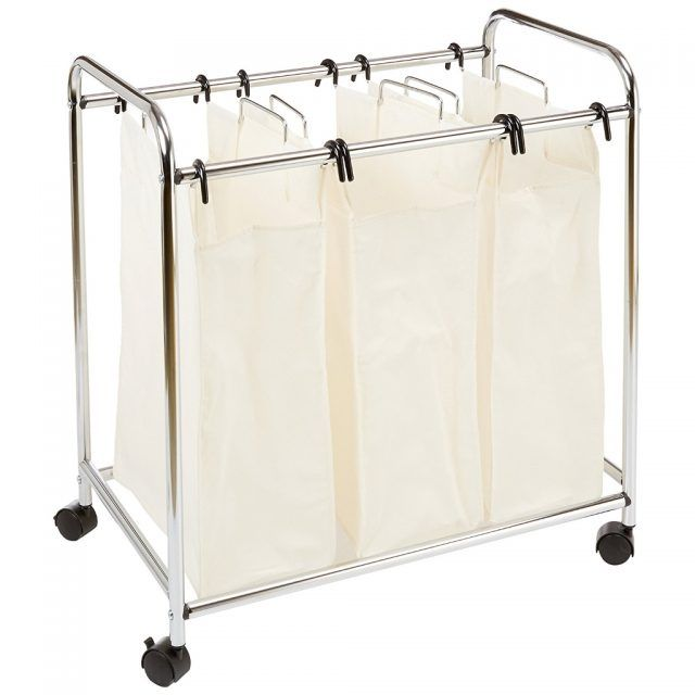 trolley style laundry sorter with 3 removable bags