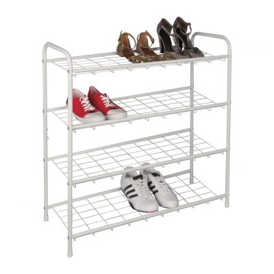 4-tier white metal shoe rack