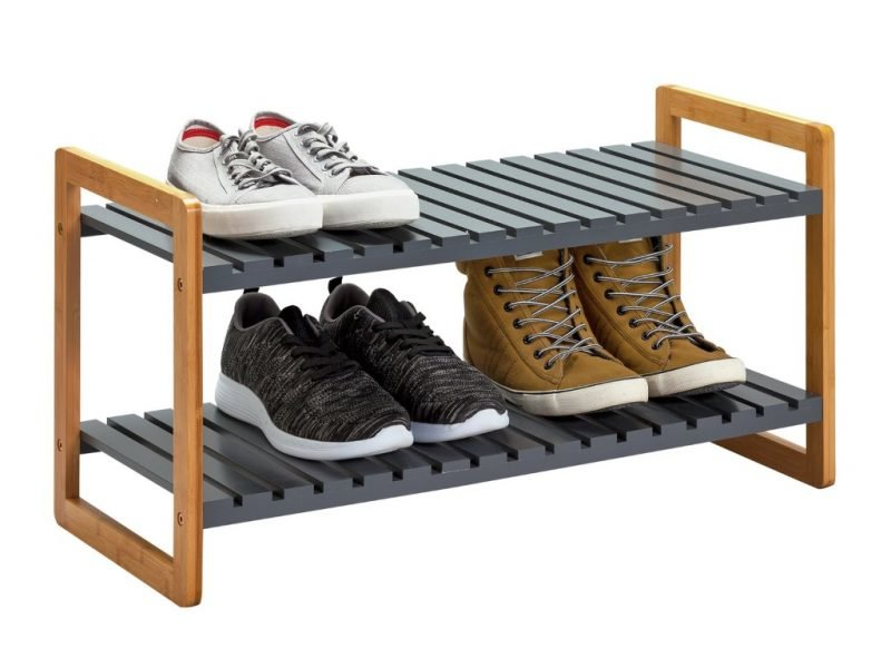 Shoe rack with grey painted shelves