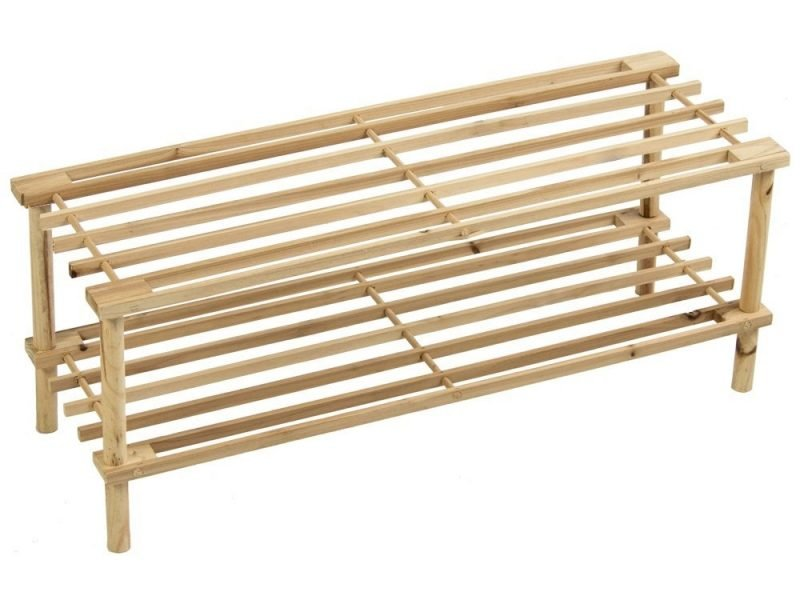 2 tier shoe rack with natural wood finish
