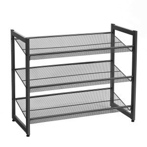 Black metal frame shoe rack with mesh shelves