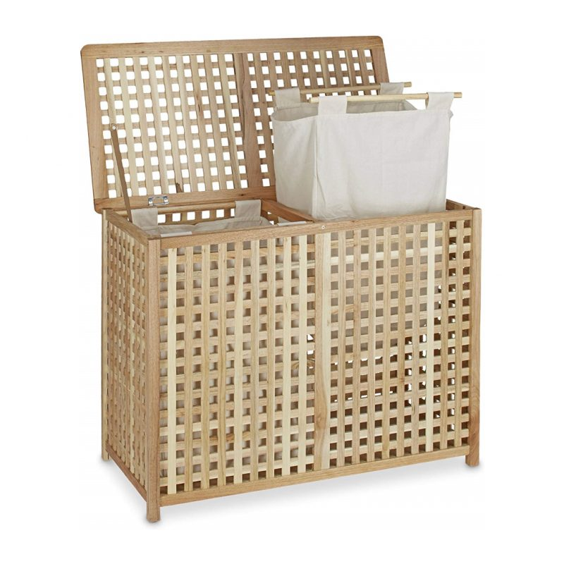 Lattice style walnut frame laundry bin with 2 removable hampers