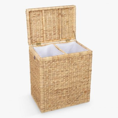 double laundry basket with a woven hyacinth frame