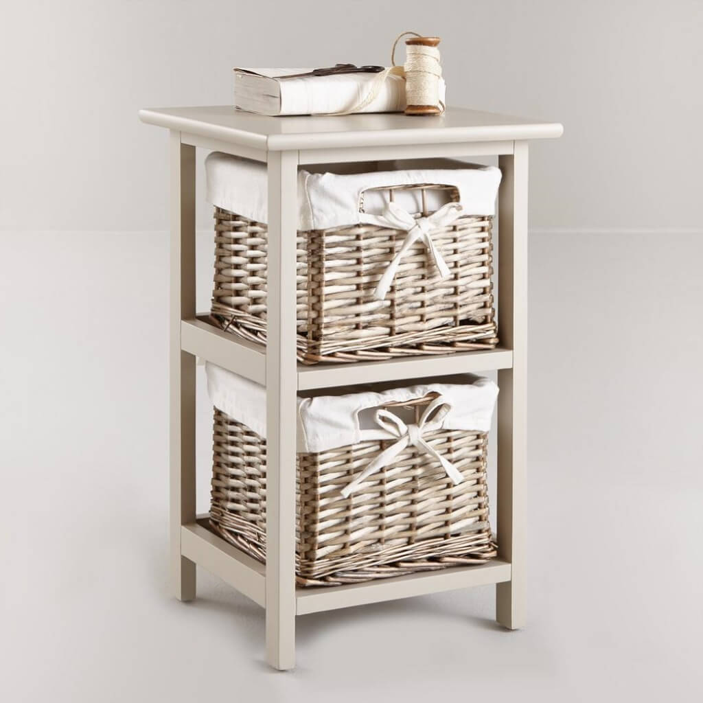 2 tier drawer unit with lined willow baskets