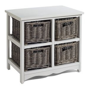 White painted frame with 4 woven willow basket drawers