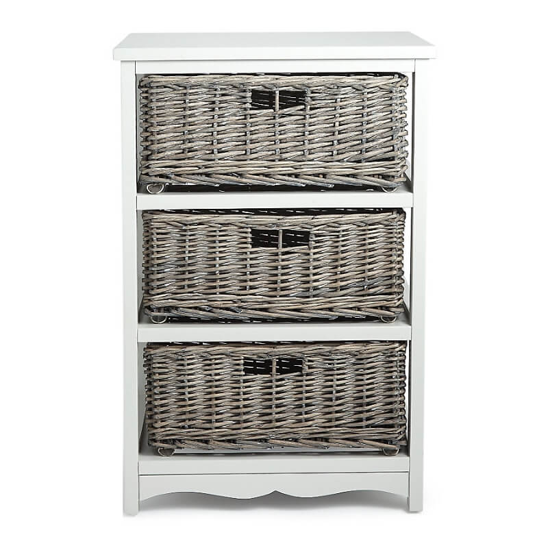 3 tier drawer unit with grey willow baskets