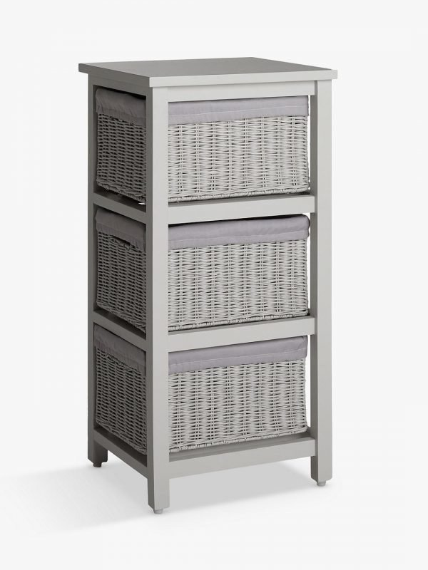 Light grey storage unit with 3 rattan baskets