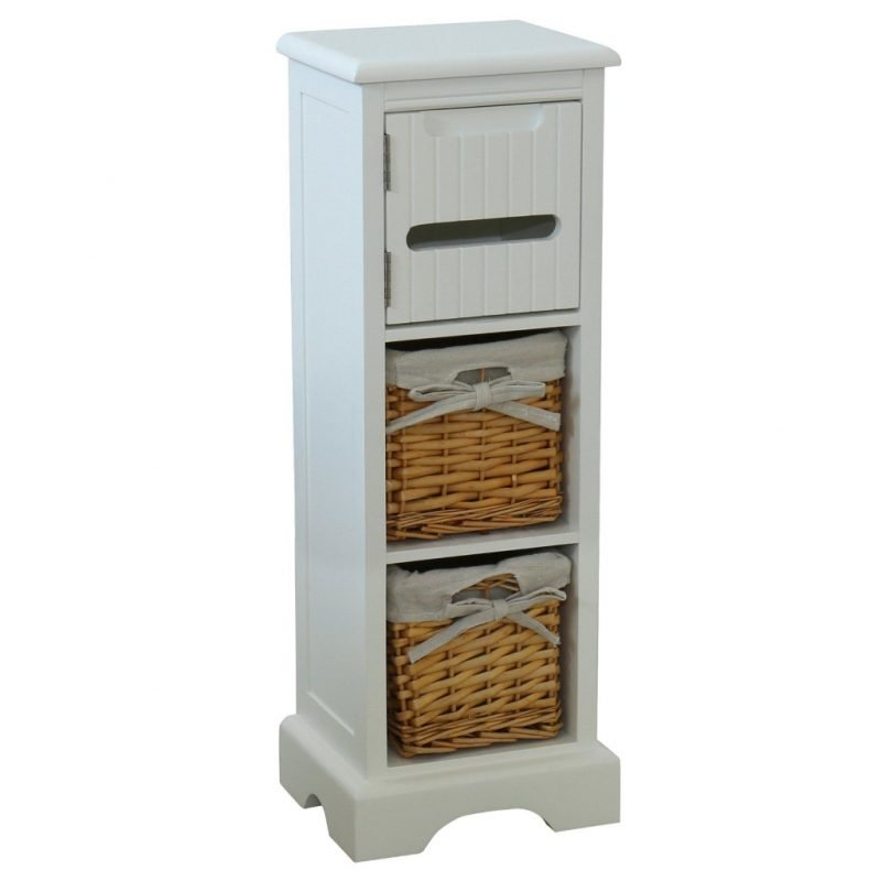 Single storage unit with 2 baskets and a toilet roll dispenser