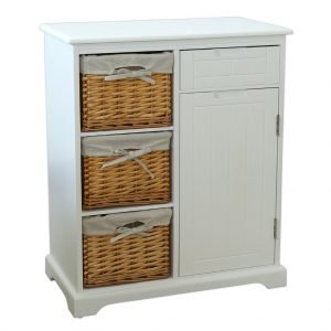 Shaker-style cupboard and drawer with 3 lined baskets