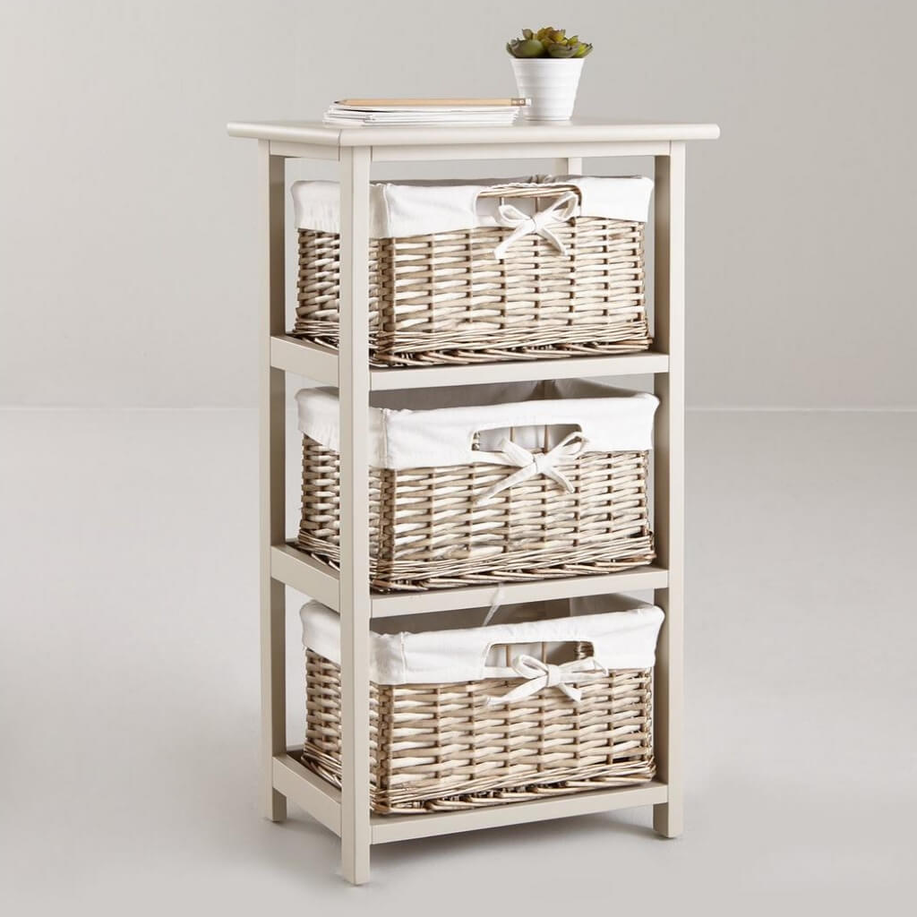 3 tier drawer unit with split willow baskets