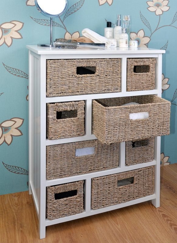 White drawer unit with 4  + 4 woven seagrass basket drawers
